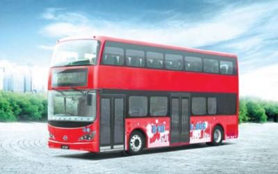 Zero-emissions London double decker buses en route